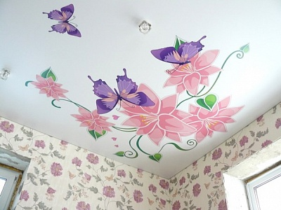 Фотопечать цветы натяжные потолки фото для